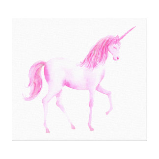 Watercolor Unicorn Pink Canvas Print