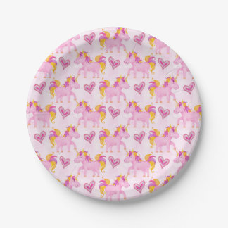 Watercolor Unicorns Paper Plate