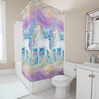 Watercolor Unicorns Shower Curtain