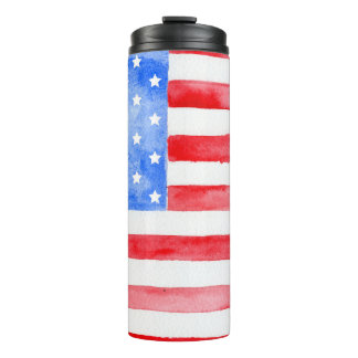 Watercolor USA Flag Thermal Tumbler