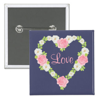 Watercolor Valentine Heart Floral Wreath 15 Cm Square Badge
