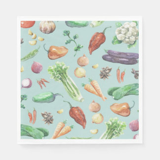 Watercolor Veggies & Spices Pattern Disposable Serviettes