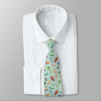 Watercolor Veggies & Spices Pattern Tie