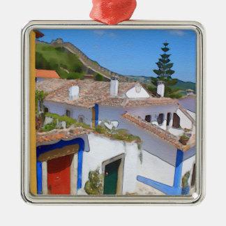 Watercolor village christmas ornament