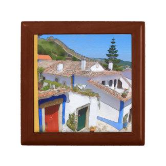 Watercolor village small square gift box