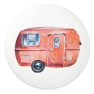 Watercolor Vintage Camper Trailer Knob Pull v. 1