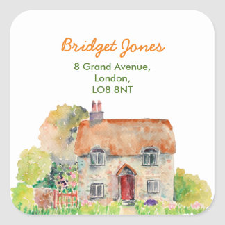 Watercolor Vintage Cottage Address Label Square Sticker