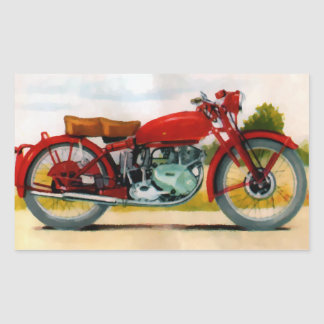 Watercolor Vintage Motorcycle Rectangle Sticker