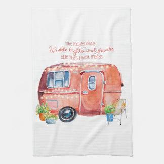 Watercolor Vintage Retro Camper Caravan Tea Towel