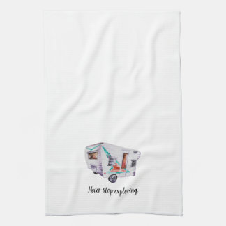 Watercolor Vintage Retro Camper Kitchen Dish Towel