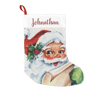 Watercolor Vintage Santa Claus & Name in Script Small Christmas Stocking