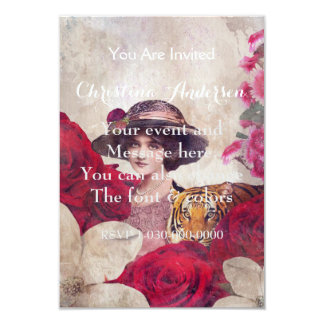 Watercolor Vintage Tiger Woman Flowers 9 Cm X 13 Cm Invitation Card