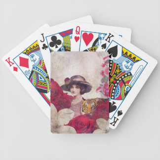 Watercolor Vintage Tiger Woman Flowers Bicycle Poker Cards