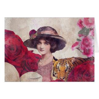 Watercolor Vintage Tiger Woman Flowers Greeting Card