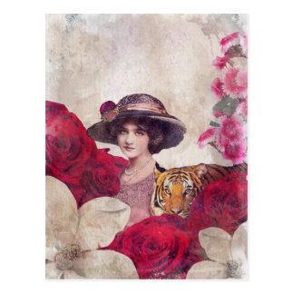 Watercolor Vintage Tiger Woman Flowers Postcard