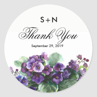 Watercolor viola flower wedding classic round sticker