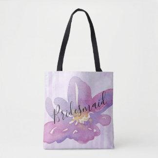 Watercolor Violet Lavender Floral Bridesmaid Tote Bag