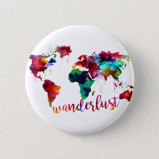 Watercolor Wanderlust World Map 6 Cm Round Badge