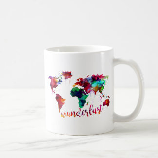 Watercolor Wanderlust World Map Coffee Mug
