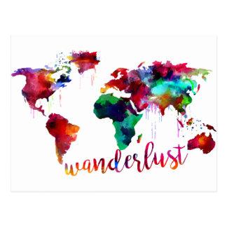 Watercolor Wanderlust World Map Postcard