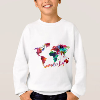 Watercolor Wanderlust World Map Sweatshirt