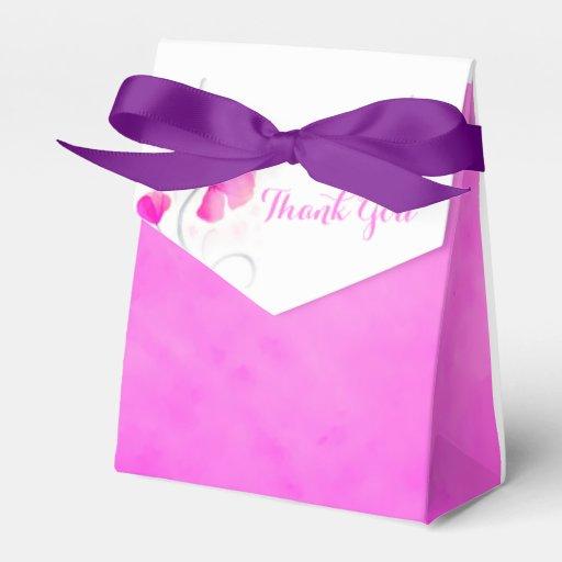 Watercolor wash flower thank you wedding favor box