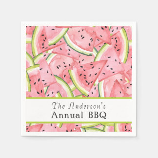 Watercolor Watermelon Pattern with Custom Text Paper Serviettes