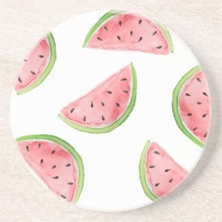 watercolor watermelon slices coaster