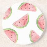 watercolor watermelon slices drink coaster