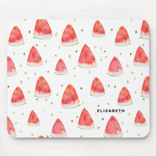 Watercolor Watermelon Slices Pattern Personalized Mouse Mat