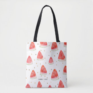 Watercolor Watermelon Slices Personalized Summer Tote Bag