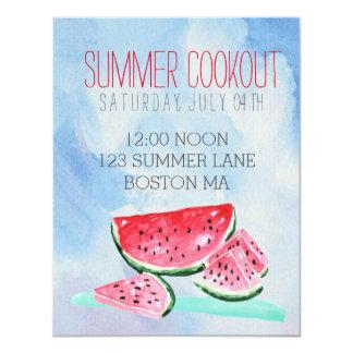 watercolor watermelon summer cookout Invitation