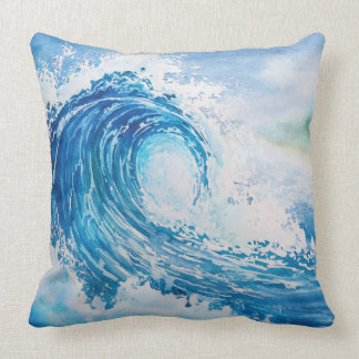 Watercolor wave cushion