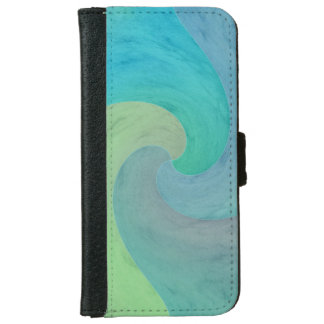 Watercolor Wave Green Turquoise Aquamarine Art iPhone 6 Wallet Case