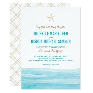 Watercolor Waves Ocean Beach Wedding Invitation