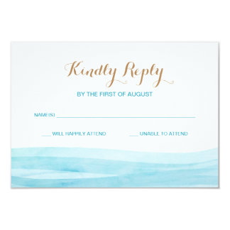 Watercolor Waves Ocean Beach Wedding Response Card