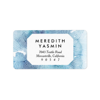 Watercolor waves ocean blue purple painted address label