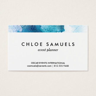 Watercolor waves ocean blue purple painted business card
