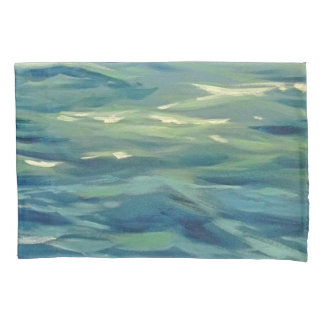 watercolor waves pillowcase