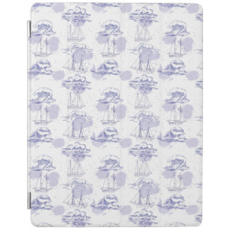 Watercolor Waves & Ships Pattern iPad Cover