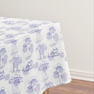 Watercolor Waves & Ships Pattern Tablecloth