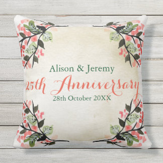 Watercolor Wedding Anniversary Botanical Coral Cushion