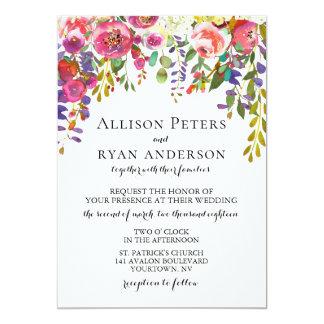 Watercolor Wedding Invitation Blush Floral Bouquet