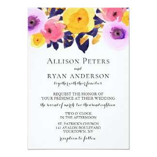 Watercolor Wedding Invitation Bright Floral
