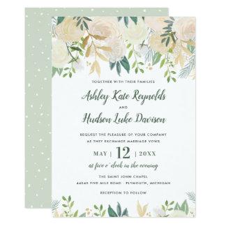 Watercolor Wedding Invitations | Neutral Blooms