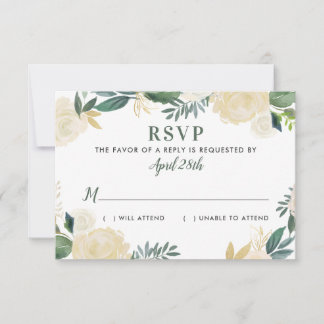 Watercolor Wedding RSVP Cards | Neutral Blooms