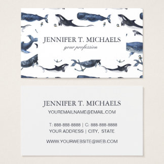 Watercolor Whale & Anchor Pattern Business Card