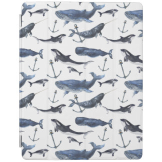 Watercolor Whale & Anchor Pattern iPad Cover