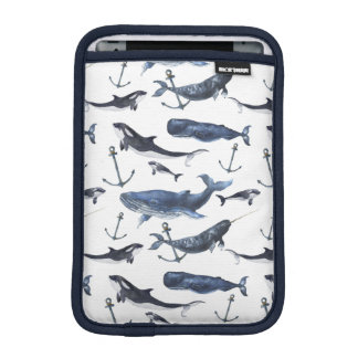 Watercolor Whale & Anchor Pattern iPad Mini Sleeve