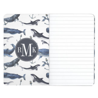 Watercolor Whale & Anchor Pattern Journal
